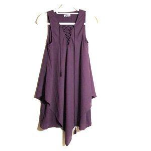 CHELSEA 28 Burgundy sleeveless tie dress XXS